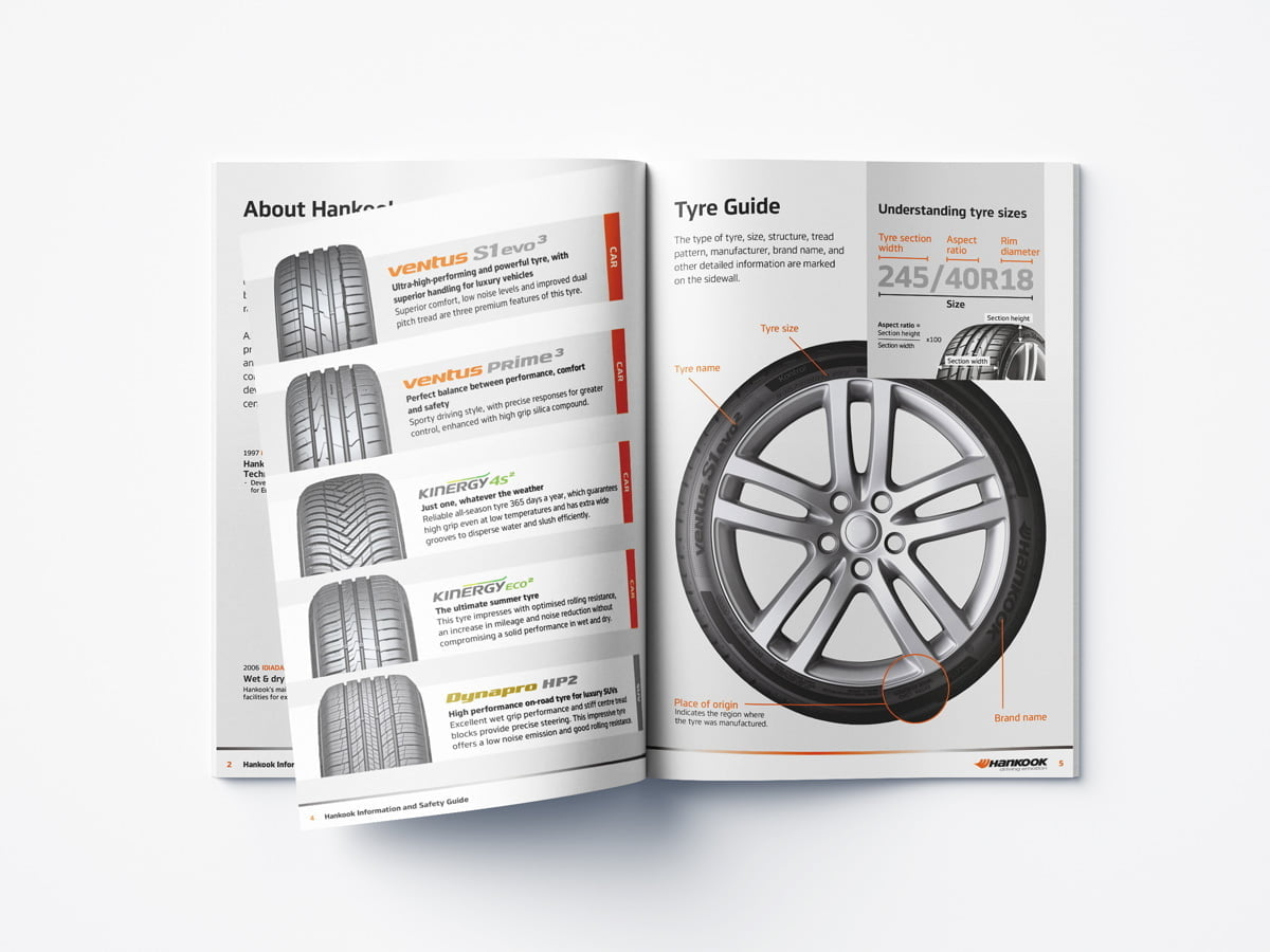 Customer safty guide inner pages showing tyre diagram