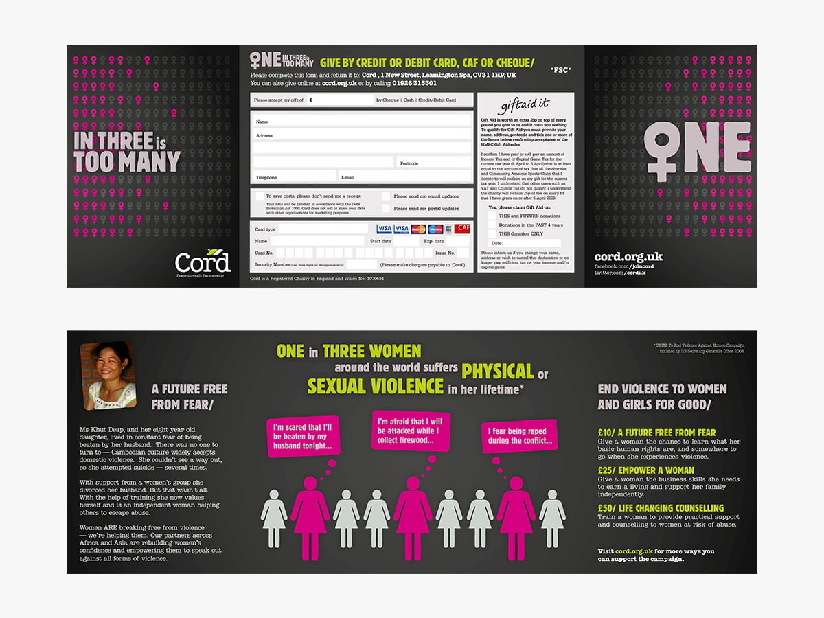 One in Three campaign tri-fold flyer