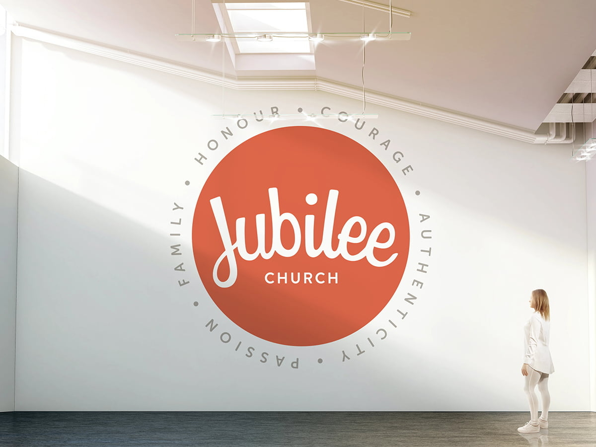 Jubilee logo and values on a wall