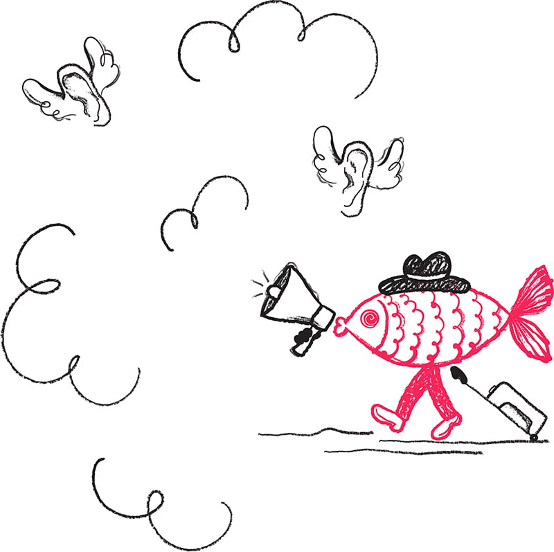 Cartoon illustration of a fish with a megaphone